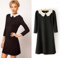 Spring new Carving Lace Collar Slim thin Women Dress black  Long-sleeved dress Casual Mini Dresses