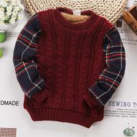 2015 trend children clothing unisex baby cotton blend knitwear shirts boy sweater girls jumpers plush lining