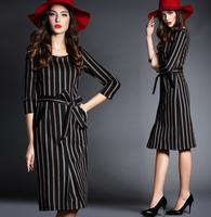New Arrival 2015 Spring Autumn High Grade Good Quality Noble Elegant Women Dress Slim Half Sleeve Striped Vestidos Sexy Dresses