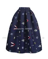 2015 Spring High End Original Design 50s Vintage Retro Floral Print High Waist Skirt Large Fold Oversized Swing Tutu Puff Skirts