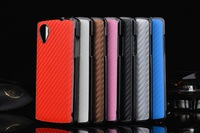 10pcs/lot Carbon Fiber Hard Back Case for Google Nexus 5 with Electroplating cover for LG Nexus 5 cell phone case 7 color