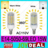 AC110V E14 5050SMD 69LEDs 15W High Quality Bright Corn LED Bulb Wall Lamps Ceiling light White 6500K or Warm White 3200K