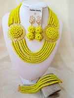 Gorgeous opaque yellow crystal costume bridal nigerian wedding african beads jewelry set AAA-178