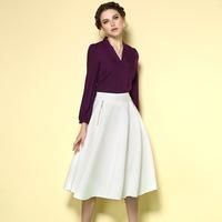 2015 spring new conjunto saia e blusa high-end V-neck dress tie sleeve ladies women two piece Shirt match high waisted skirt