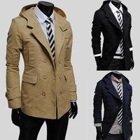 2015 New men's windbreaker Fashion double-breasted design cultivate long slim jacket men even cap trench coat