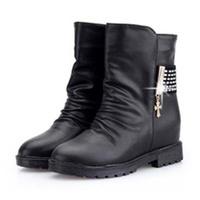 New Fahion Winter Warm Flats Women Short Toub Soft PU Upper Cotton Boots Hiden Increased Heel Martin Boot 1 Pair Free Shipping