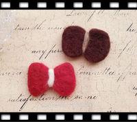 65MM 10Pcs ( Pure Handmade & Wool felt) 3D Bowknot Woolen Wire Jewelry Findings & Garment  Accessories