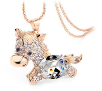 horse crystal Necklace winter high quality Long chain Necklaces for women Free Shipping 4pcs per lot