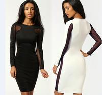 Hot 2015 New Fashion Lady Elegant Midi Bodycon Bandage Dress Women Slim Lace Patchwork Sexy Dress Long Sleeve
