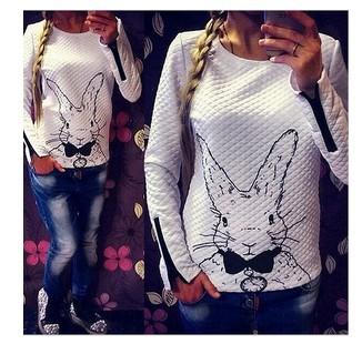2015 Women Hoody Spring Autumn Long Sleeve Casual Sweatshirts Women sport suit Rabbit Printed Hoodies With Zipper Pullover(China (Mainland))