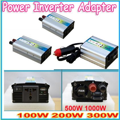 New DC 12V to AC 220V usb car Power Inverter Adapter 100W 200W 300W 500W 1000W USB Car(China (Mainland))