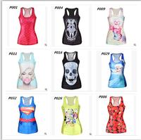 Hot sale!!!! summer new 2015 fashion women t-shirt RIBS 3D Vest tops Skull bone Camisole Sexy Tank top