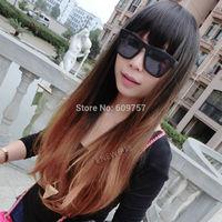 brown+flaxen color long curly wave hair full wig Kanekalon fibre no Lace Front wholesale Wigs