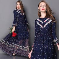 Best Quality 2015 New Fashion Dresses European Style Women Vintage Print Lace Floral Patchwork Silk Maxi Dress Ladies Novelties