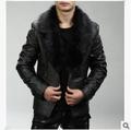 Hete verkoop 2015 lente& herfst nieuwe koreaanse mannen casual korte paragraaf pak kleine pluche lederen jas bont kraag 12.25-109