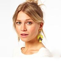 Nice Quality New Jewerlry Fashion Yellow Rhinestone Stud Earrings For Woman Gift Wholesale Sale Free Shipping