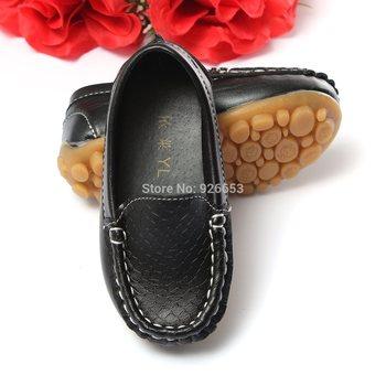 Новинка размер 21-25 дети дети искусственная кожа кроссовки для мальчиков и девочек лодка обуви скользить по мягкой подошвой свободного покроя квартиры