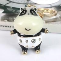 Cool Hee Kung Fu Panda cute car keychain jewelry handbags diamond pendant keychain male waist hanging creative fine