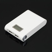 white 30000mAh LCD External Power Bank Backup Dual USB Battery Charger For iPhone