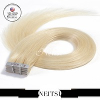 """Skin Weft Fashion  Hair Extensions Indian Remy Tape Hair Straight 20"""" 613# Color 100g 40pcs 5A Grade 100% Raw Indian Hair Pieces"""