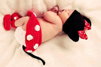 Brand New Newborn Girl Baby Hat+Skirt+Diaper Cover+Shoes Minnie Mouse Crochet Costume 4pcs 0-12M