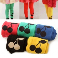 Baby Kids Girl Cherry Printed Warm Stretchy Leggings Trousers Toddler  Pant Free Shipping