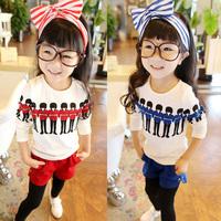 Baby Kid Girl Long Sleeve T-shirt Fashion Crewneck Shirt Cotton Casual Tops 2-7Y  Free Shipping