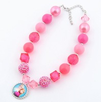 60pieces/lot, elegant Baby Girls pink Frozen Necklace for kid/girls/baby jewelry for Birthday/Party, C-hcy071