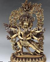 "Free Shipping 12"" Tibet Buddhism Bronze Six Arm Sadbhuja Mahakala Dharmapala Buddha Statue"