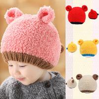 Infants Newborn Baby Winter Hat Girls Boys Knitted Woolen Beanie Caps Ear Bear Hats Freeshipping