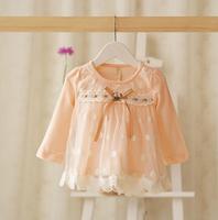 2015 New baby girls princess dress children lace dress long sleeve flower 4 colors 5 pcs/lot wholesale 2055
