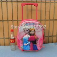 2015 FROZEN new 3D design trumpet kindergarten pull rod schoolbag, Ice and snow princessTrolley schoolbag