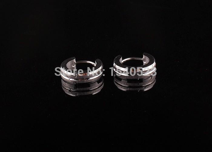 Fashion Stainless Steel Men's Earrings Hoop Huggie Ear Stud Silver plated Scrub Earrings Unisex 1pair Free shipping 0898(China (Mainland))