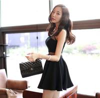 New Arrival 2015 Summer Korean Perspective Women Dress O-Neck Sleeveless Slim Mini Dress vestidos Party Dresses