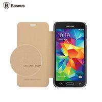 Galaxy S5 Mini G870 G800 best Original Baseus brand luxury flip Leather phone cover case for Samsung Galaxy S5 Mini Gold Silver
