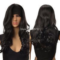 Fashion Lady Wig Curly Wavy Long Hair Full Wig Kanekalon fibre no Lace Front wholesale Wigs