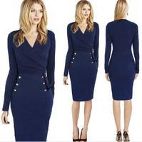 New women casual winter dresses elegant bodycon bandage dresses 2015 autumn knee-length vintage office work dress blue
