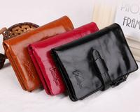 2015 vintage women wallet cowhide wallets genuine leather women three-fold purse short design fashion coin wallet free shipping