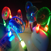 Colorful 3FT LED Visible Light Charger Cable Noodle Shaped Luminous Data Charging Cable Line For Iphone 5 5s 5c 6 plus