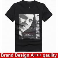 Mohammed ali print men's clothing men shirt short sleeve fashion 2014 clothes tshirt branddesigner casual shirt tee shirts