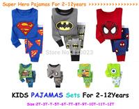 Children Clothing Kids Pajamas Baby Boys Girls Pijamas Car Styling Pyjamas Super man Bat Man Spider-man Minions Pajamas