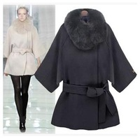 Hot sale2014 winter new S/M/L/XL size women raccoon fur collar cashmere wool cape coat woolen coat