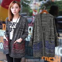 2015 European Style New Women Cardigans Sweater Fashion Oversized Knit Long Sweater Winter Outerwear Coats