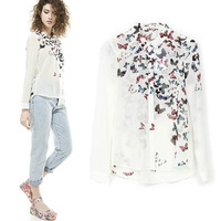 2015new women's European style popula butterfly print shirt 8033