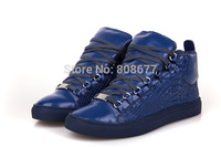 2014 Brand Luxury Famous Brand Men Sneakers High Top Alligator Genuine Leather Lace Up Casual Flats Shoes Free Shipping
