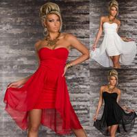 Women sexy chiffon off-shoulder strapless packet hip evening dress