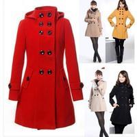 Fashion Women Wool Coat Trench Hooded Coat Long Jacket Outwear Overcoat