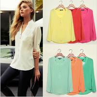 Free Shipping 2015 Women Casual Shirts Spring Summer Long Sleeve V Neck Feminina Chiffon Top Shirt Blouses Plus Size S-XXXL