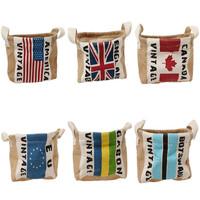 National Flag Eco-Friendly Storage Buckets Bags Round Jute Mini Basket jewelry Desk sundry phone home storage Box FK672866