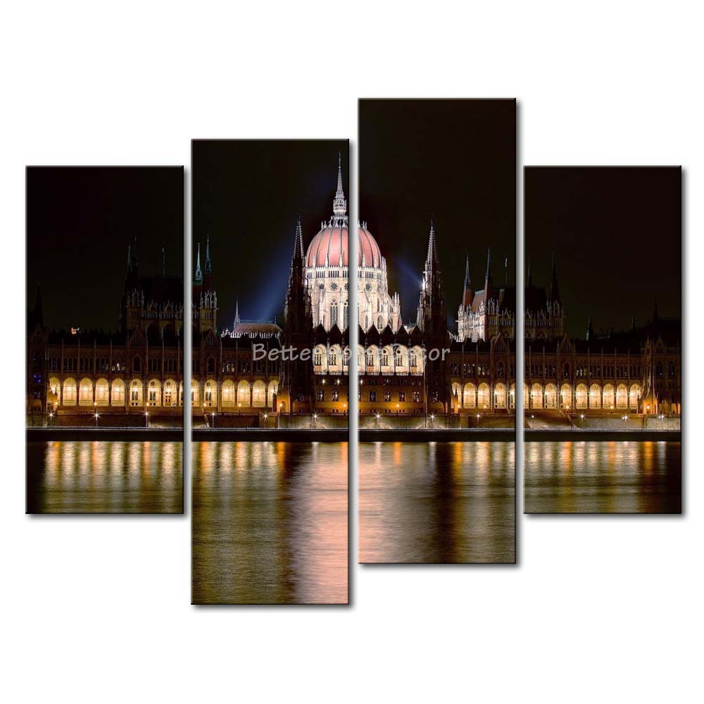 3 Piece Wall Art Painting Hungarian Parliament Building Picture Print On Canvas City 4 5 The Picture Home Decor Oil Prints(China (Mainland))